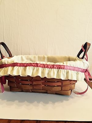 Longaberger Bread Basket 1989 w/Liner Initialed to Underside Leather Handles
