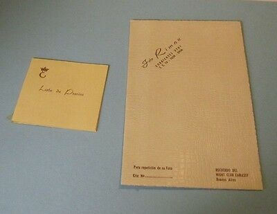 1950 Embassy Night Club Buenos Aires Argentina Photo Card and Price List Vintage