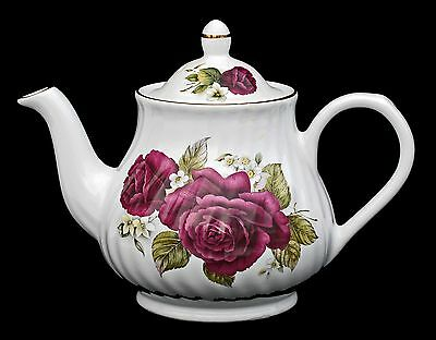 Arthur Wood & SonTeapot - Dark Red Roses Vintage Perfect Condition Staffordshire