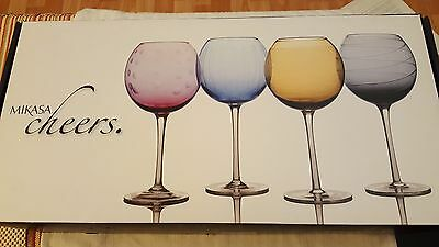 Mikasa Balloon Wine Goblet Crystal Cheers Multi Color Set Of 4 New 24 1/2 Oz Box