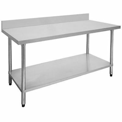 Prep Bench with Undershelf & Splashback, Stainless Steel, 1500x700x900mm, Kitche