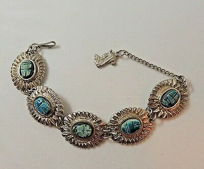 Pretty Silver Tone Scarab Linked Bracelet with Egyptian Charm 7 3/4""