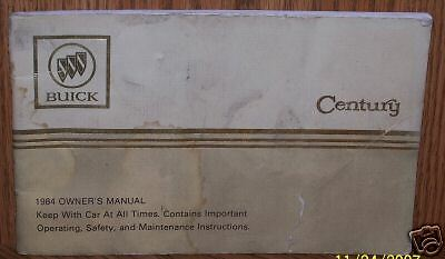 1984 Buick Century Owners Manual