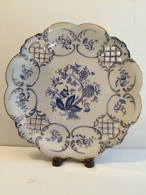 "Andrea By Sadek Cobalt Blue & White Gilt 9""Decorative Plate"