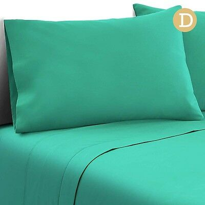 NEW Double Size 100% Microfibre Fitted and Flat Bed Sheet, 2 Pillowcases - Aqua