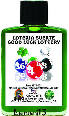 Good Luck Lottery, Oil, Indio Products, 1/2 oz, Lunari13, Wicca, Santeria, Power