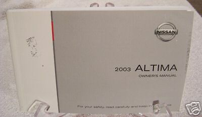 **NEW** 2003 Nissan Altima Owners Manual 03