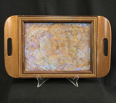 Antique / Vintage Real Bright Butterfly Moth Serving Tray with Inlaid Wood