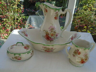 Vintage Royal Winton English Ironstone Four Piece Wash Stand Set Floral Roses