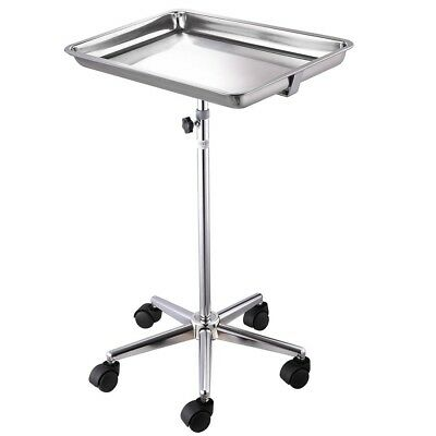 Rolling Steel Adjustable Mayo Silver Tray Medical Equipment Salon Tattoo Stand