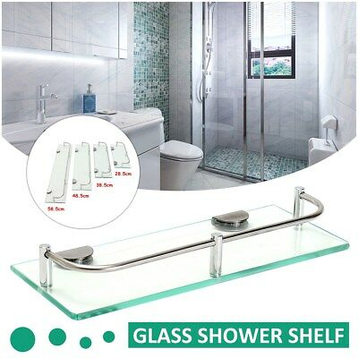Modern Glass Corner Holder Rectangle Shelf Wall Mounted Bathroom Shower Storage
