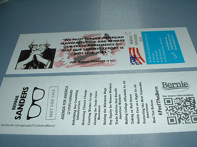 2 Bernie Sanders Bookmark 2016 Presidential Campaign Memorabilia Collectible