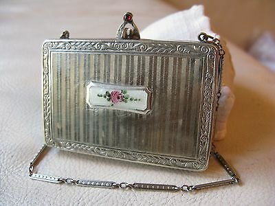 Antique Art Deco Silver T White Guilloche Enamel Red Jewel Coin Holder Compact