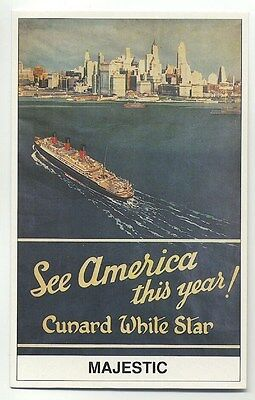 L7302 - Cunard White Star Liner - Majestic , built 1914 - poster advert postcard