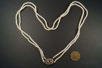 ANTIQUE DOUBLE STRAND PEARL NECKLACE w/ 9K GOLD GEORGIAN MOURNING CLASP c1820