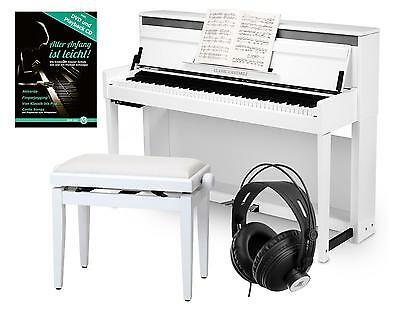 Digital Upright Piano E-Piano 88 Hammer Keys 3 Pedals Usb Bench Headphones White