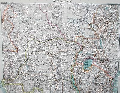 Map of Central Africa. Stieler. 1909. LAKE VICTORIA. CONGO. Original