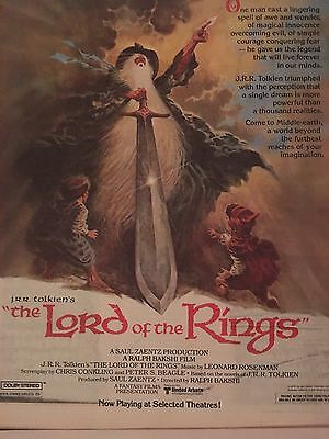 VINTAGE 1978 The Lord Of The Rings ANIMATION MOVIE AD PINUP POSTER J.R.R TOLKIEN