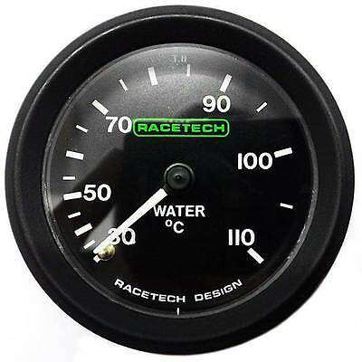 Racetech Water Temperature Gauge 52mm - Mechanical + Back Light & 9ft Capilary
