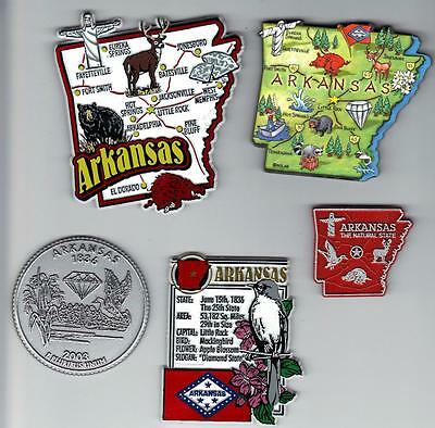 ARKANSAS MAGNET ASSORTMENT 5 NEW  STATE SOUVENIRS including  JUMBO MAP MAGNET