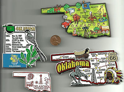 OKLAHOMA OK MAGNET ASSORTMENT 4 NEW  STATE SOUVENIRS include JUMBO map MAGNET