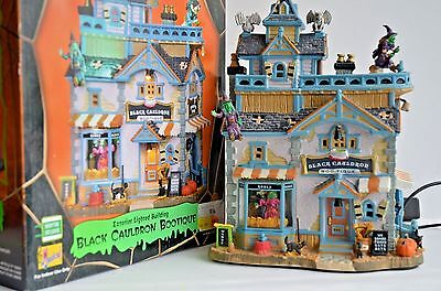 Lemax Spooky Town Black Cauldron Bootique Lighted Musical Building