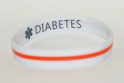 Silicone Medical Alert ID Bracelet Double Sided Sport Band DIABETES Printed