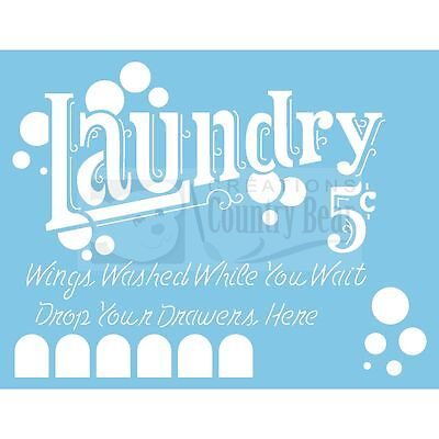 Stencil - Laundry 5 cents -  ST-211 - Tracy Moreau