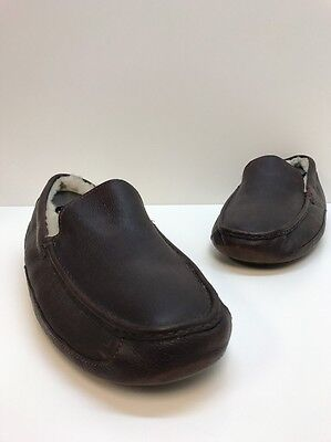 Men's Leather Uggs Brown Slippers 5379 Shoes Moccasins Size 16