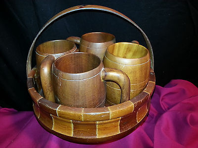 CALIFORNIA REDWOOD MUGS & BASKET-STYLE TOTE w/HANDLE STANDARD SPECIALTY CO.