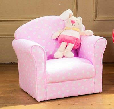 Children's Kids Armchair Tub Chair Pink With White Hearts