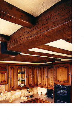 False oak beams for 10'x10' ceiling, set of 1 beam & 8 joists, special offer lot