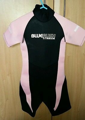"""Child's Girls Pink and Black Wetsuit Size Small 24"""" chest. Age 4 5"""