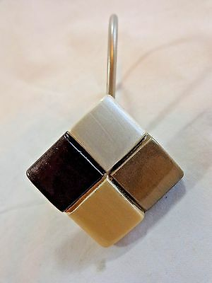 Shower Curtain Hooks Set of 12 SQUARES Brown Gold Bronze White Resin