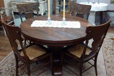 Vintage Round Oak Pedestal Dining Table With 5 Caned Seat Carved Back Chairs