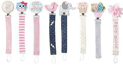Mud Pie MK7 Baby Girl Pacy Pacifier Clips Owl, Elephant, Cupcake Various Designs