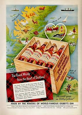 1950 Fine Whiskey From The Heart Of Scotland Gilbey's Ad