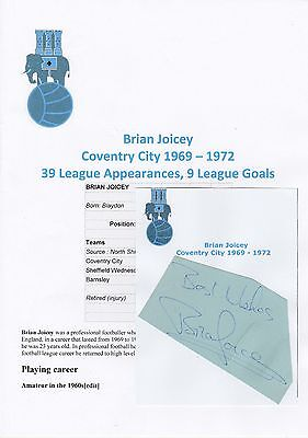 Brian Joicey Coventry City 1969-1972 Original Hand Signed Cutting/Card