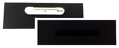 """Lot of 10 Matte Black Blank 1x3"""" Name Badges Tags with Pins NEW - READY TO USE"""