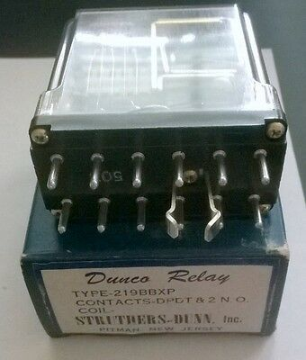 Dunco Relay 219BBXP DPDT 2 N.O. Coil Relay NEW in Original Box FREE Shipping