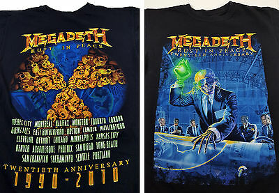 "Megadeth M / S "" Rust in Peace "" Concert Tour Shirt 2010 Rock Band"