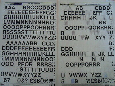 2 x LETRASET Letter Transfers HELVETICA MEDIUM 60pt (#719) Used