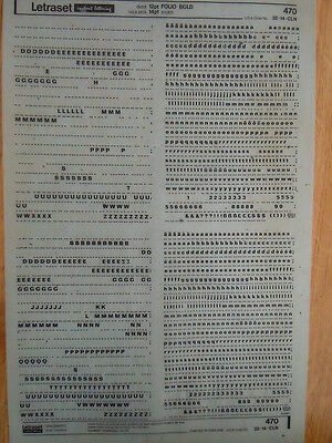 LETRASET Rub on Letter Transfers FOLIO BOLD 12pt (#470) Used