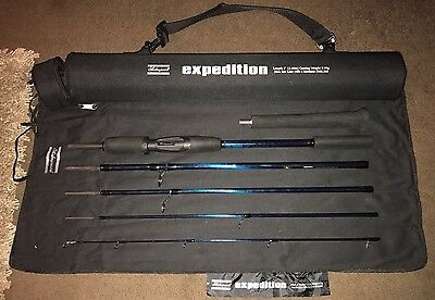 Mint - Shakespeare Expedition 8ft Travel Fishing Rod 6 Sections 5-30g In Case