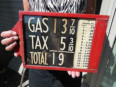 ORIGINAL 1910 - 20's  VISIBLE GAS PUMP SINCLAIR GASOLINE PRICE CHART SIGN LOOK !