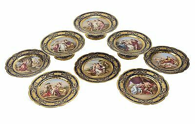 19th Century Royal Vienna Style 13-Piece Dessert Service for Eight
