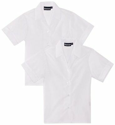 "Bianco (Weiß) (TG. 36"" Chest) BlUE Max Banner Revere Twin Pack Short Sleeve Scho"