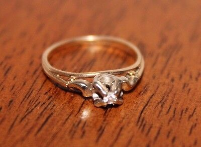 10k-14K White and Yellow Gold small diamond ring size 4.5