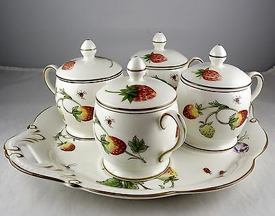 Coalport English Bone China Strawberry Pot De Creme Tray Set