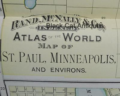 "1898 Map of ST. PAUL & MINNEAPOLIS 26"" X 19"" Antique Rand McNally Lg Color"